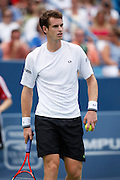 CINCINNATI, OH - AUGUST 22: Andy Murray of Great Britain looks on during his match with Roger Federer of Switzerland during day six of the Western & Southern Financial Group Masters on August 22, 2009 at the Lindner Family Tennis Center in Cincinnati, Ohio. Federer defeated Murray 6-2, 7-6. (Photo by Joe Robbins)