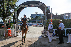 Warm-up <br /> Pieter Devos (BEL)<br /> Furusiyya FEI Nations Cup Jumping Final<br /> CSIO Barcelona 2013<br /> © Dirk Caremans