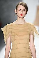 Lara Mullen walks down runway for F2012 Tadashi Shoji's collection in Mercedes Benz fashion week in New York on Feb 9, 2012 NYC