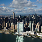 Manhattan skyline from a helicopter over the East River