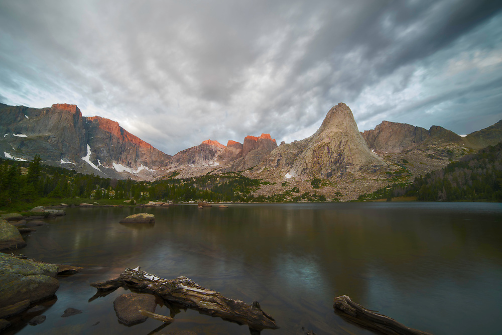 Just before sunrise, Pingora Peak and Lonesome Lake, Wind River Range, Wyoming