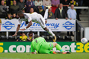 \Fulham midfielder Floyd Ayite (11) jumps over Burton Albion goalkeeper Stephen Bywater (1) during the EFL Sky Bet Championship match between Burton Albion and Fulham at the Pirelli Stadium, Burton upon Trent, England on 16 September 2017. Photo by Richard Holmes.