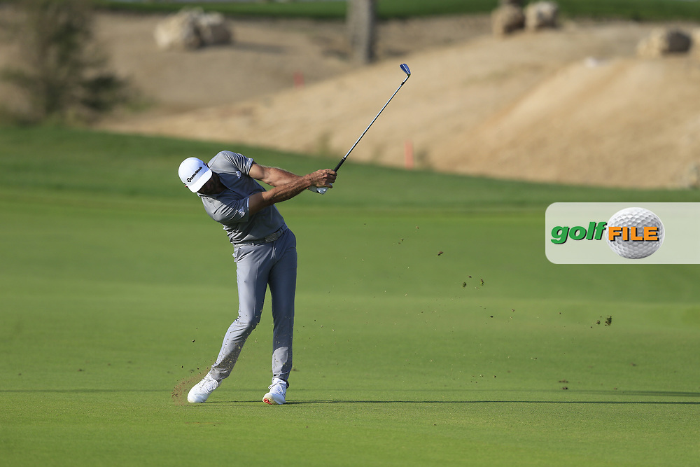 Dustin Johnson (USA) on the 18th fairway during the final round of  the Saudi International powered by Softbank Investment Advisers, Royal Greens G&CC, King Abdullah Economic City,  Saudi Arabia. 02/02/2020<br /> Picture: Golffile | Fran Caffrey<br /> <br /> <br /> All photo usage must carry mandatory copyright credit (© Golffile | Fran Caffrey)