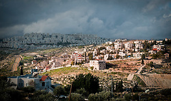 © London News Pictures. 14/03/2011. The vast Israeli settlement of Har Homa overlooks Bethlehem in the occupied West Bank. Har Homa is one of the largest settlements in the occupied Palestinian Territories and is currently being expanded. 13/03/11