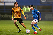 Macclesfield Town forward Danny Whitehead tackled by Crewe Alexandra midfielder Ryan Wintle   during the EFL Sky Bet League 2 match between Macclesfield Town and Crewe Alexandra at Moss Rose, Macclesfield, United Kingdom on 21 January 2020.