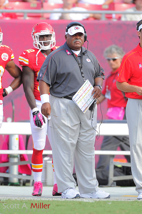 Kansas City Chiefs head coach Romeo Crennel during the Tampa Bay Buccaneers 38-10 win over the Chiefs at Raymond James Stadium  on Oct. 14, 2012 in Tampa, Florida. ..©2012 Scott A. Miller...