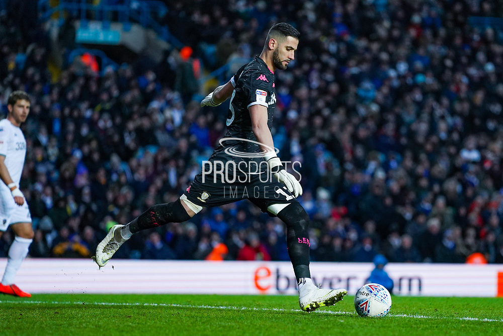 Leeds United goalkeeper Kiko Casilla (13) passes the ball during the EFL Sky Bet Championship match between Leeds United and Cardiff City at Elland Road, Leeds, England on 14 December 2019.