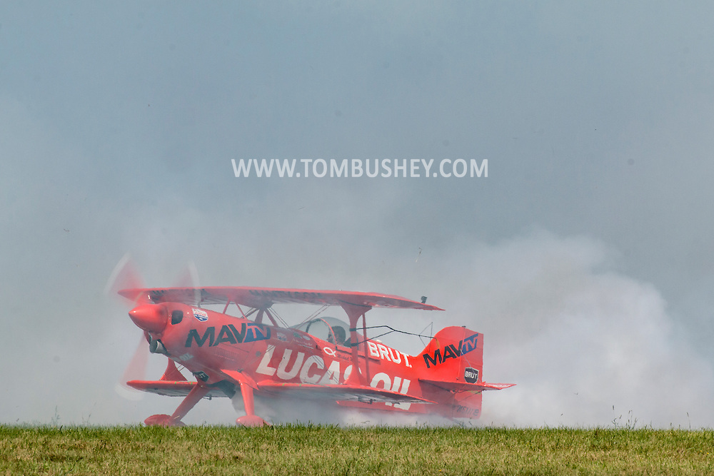 New Windsor, New York - Mike Wiskus flies the Lucas Oil Pitts S-1-11B at the New York Air Show at Stewart International Airport on Aug. 30, 2015.
