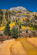 Hayden Mountain, golden aspen trees, orange mine effluent, in the San Juan Mountains near Crystal Lake, Uncompahgre National Forest, south of Ouray, Colorado, USA.