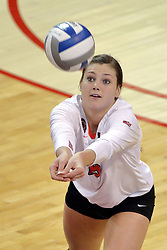 23 October 2015:  Ashley Rosch(15) passes forward during an NCAA women's volleyball match between the Wichita State Shockers and the Illinois State Redbirds at Redbird Arena in Normal IL (Photo by Alan Look)