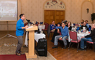 Middletown, New York - Boston Marathon race director Dave  McGillivray speaks at a special meeting of the  Orange Runners Club at Kuhl's Highland House on March 4, 2015.