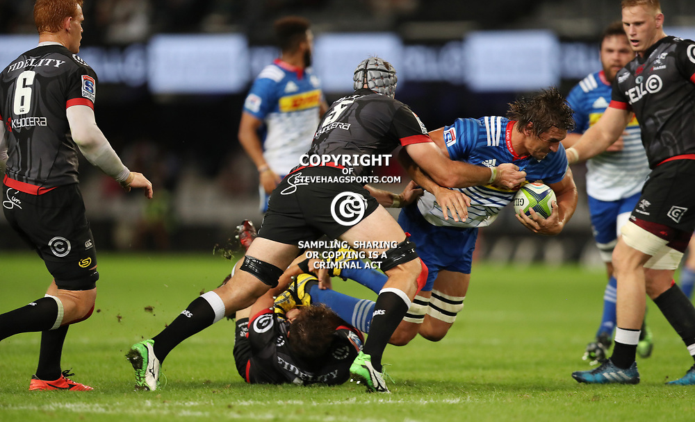 DURBAN, SOUTH AFRICA - MAY 27: Stephan Lewies of the Cell C Sharks tackling Eben Etzebeth (vice-captain) of the DHL Stormers during the Super Rugby match between Cell C Sharks and DHL Stormers at Growthpoint Kings Park on May 27, 2017 in Durban, South Africa. (Photo by Steve Haag/Gallo Images)