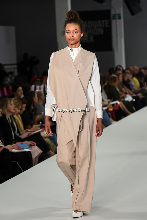 Designer Amna Saghir showcases it lastest collection at the Graduate Fashion Week 2018, 4 June 4 2018 at Truman Brewery, London, UK.