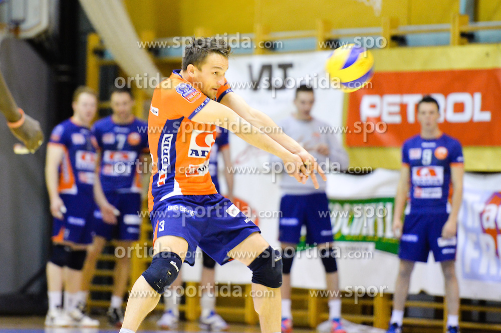 Miha Pot of ACH during volleyball game between OK Panvita Pomgrad and ACH Volley in 2nd semifinal match of  Slovenian National Championship 2015, on April 5, 2015 in Murska Sobota, Slovenia. Photo by Mario Horvat / Sportida