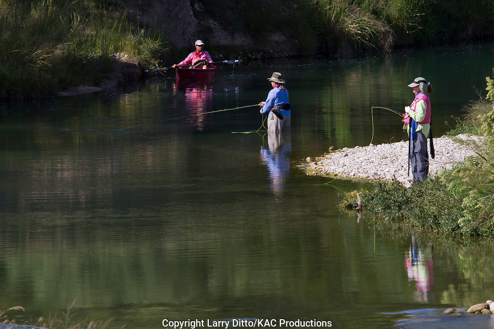 Ladies fly fishing on the South Llano River near Junction, Texas