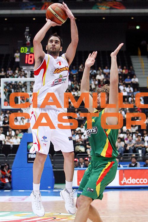 DESCRIZIONE : Saitama Giappone Japan Men World Championship 2006 Campionati Mondiali Spain-Lithuania <br /> GIOCATORE : Navarro <br /> SQUADRA : Spain Spagna <br /> EVENTO : Saitama Giappone Japan Men World Championship 2006 Campionato Mondiale Spain-Lithuania <br /> GARA : Spain Lithuania Spagna Lituania <br /> DATA : 29/08/2006 <br /> CATEGORIA : Tiro Sponsor Adecco <br /> SPORT : Pallacanestro <br /> AUTORE : Agenzia Ciamillo-Castoria/E.Castoria <br /> Galleria : Japan World Championship 2006<br /> Fotonotizia : Saitama Giappone Japan Men World Championship 2006 Campionati Mondiali Spain-Lithuania <br /> Predefinita :