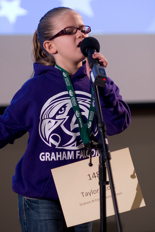 Taylor Scott of Graham N Elementary School introduces herself during the Southeastern Ohio Regional Spelling Bee Regional Saturday, March 16, 2013. The Regional Spelling Bee was sponsored by Ohio University's Scripps College of Communication and held in Margaret M. Walter Hall on OU's main campus.