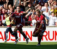Photo: Steve Bond.<br />Scunthorpe United v Sheffield United. Coca Cola Championship. 01/09/2007. Martin Paterson turns after scoring (L). Kevan Hurst (R) follows