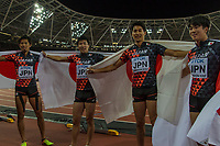 Athletics - 2017 IAAF London World Athletics Championships - Day Nine, Evening Session<br /> <br /> Mens 4 x 100m Relay<br /> <br /> Japanese team celebrate taking the Bronze medal at the London stadium<br /> <br /> <br /> at the London Stadium<br /> <br /> COLORSPORT/DANIEL BEARHAM