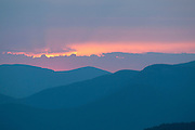 Sunset over the western ridges of The White Mountain National Forest, NH