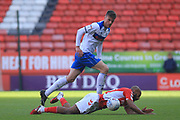 Ryan Delaney makes a challenge during the EFL Sky Bet League 1 match between Charlton Athletic and Rochdale at The Valley, London, England on 4 May 2019.