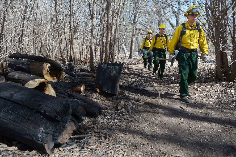 gbs031618c/ASEC -- Firefighter Lane McConnell, driver Ryan Hopkins and Capt. Javier Fernandez, from left, walk through the Bosque where there was a fire near Central on Wednesday. The Albuquerque Fire Department started Bosque patrols on Thursday, March 16, 2017. (Greg Sorber/Albuquerque Journal)