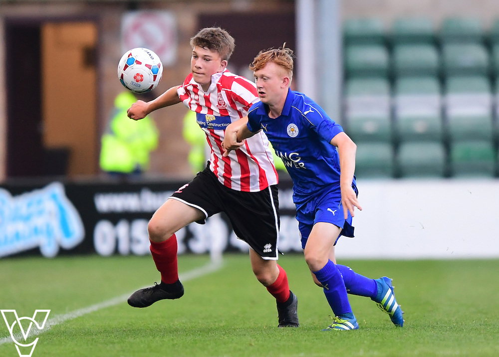 Lincoln City&rsquo;s Luke White vies for possession with Leicester City&rsquo;s Morgan Brown<br /> <br /> Lincoln City under 18s Vs Leicester City under 18s at Sincil Bank, Lincoln.<br /> <br /> Picture: Chris Vaughan/Chris Vaughan Photography<br /> <br /> Date: July 28, 2016