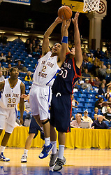 November 30, 2009; San Jose, CA, USA;  San Jose State Spartans guard Adrian Oliver (2) grabs a rebound from Saint Mary's Gaels center Omar Samhan (50) during the second half at the Event Center Arena.  Saint Mary's defeated San Jose State 78-71.