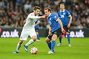 England's Adam Lallana on the ball during the UEFA European 2016 Qualifier match between England and Estonia at Wembley Stadium, London, England on 9 October 2015. Photo by Shane Healey.
