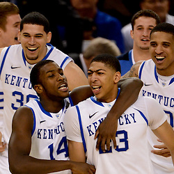 Apr 2, 2012; New Orleans, LA, USA; Kentucky Wildcats forward Anthony Davis (23) celebrates with forward Michael Kidd-Gilchrist (14) and teammates after defeating the Kansas Jayhawks 67-59 in the finals of the 2012 NCAA men's basketball Final Four at the Mercedes-Benz Superdome. Mandatory Credit: Derick E. Hingle-US PRESSWIRE