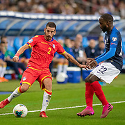 PARIS, FRANCE - September 10:  Cristian Martínez #2 of Andorra id challenged by Jonathan Ikone #22 of France during the France V Andorra, UEFA European Championship 2020 Qualifying match at Stade de France on September 10th 2019 in Paris, France (Photo by Tim Clayton/Corbis via Getty Images)