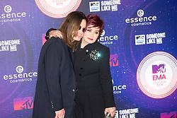 Ozzy Osbourne and Sharon Osbourne.<br /> Red carpet at the MTV EMA, Glasgow.