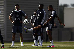 June 23, 2018 - Moscow, Russia - Kylian Mbappe (R) of France takes part in a training session at the Glebovets stadium in Istra, on June 23, 2018, during the Russia 2018 World Cup football tournament. (Credit Image: © Mehdi Taamallah/NurPhoto via ZUMA Press)