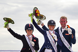 Podium Freestyle Test Grade IV Para Dressage 1. Michele George and FBW Rainman, 2. Sophie Wells and Valerius,3.Frank Hosmar and Alfphaville N O P, - Alltech FEI World Equestrian Games™ 2014 - Normandy, France.<br /> © Hippo Foto Team - Leanjo de Koster<br /> 25/06/14