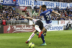 April 28, 2018 - Strasbourg, France - Jonas Martin 28; Racing Strasbourg.during the French L1 football match between Strasbourg (RCSA) and Nice (OGC) on April 28, 2018 at the Meinau stadium in Strasbourg, eastern France. (Credit Image: © Elyxandro Cegarra/NurPhoto via ZUMA Press)