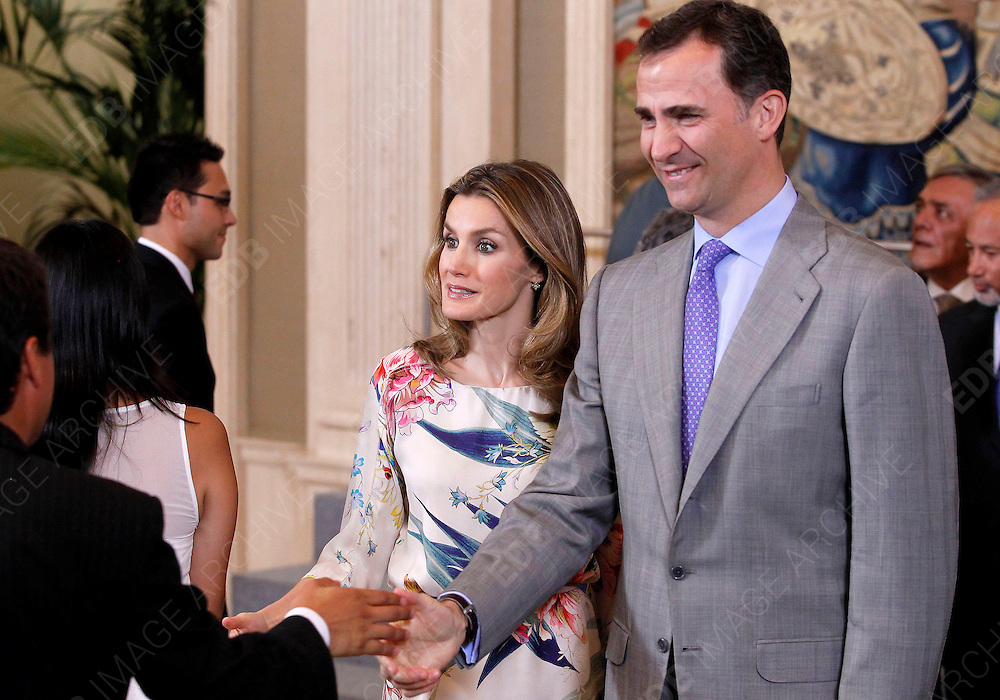 18.JULY.2012. MADRID<br /> <br /> PRINCESS LETIZIA AND PRINCE FELIPE ATTEND ROYAL AUDIENCES AT ZARZUELA PALACE, MADRID. 18.07.2012 <br /> <br /> BYLINE: EDBIMAGEARCHIVE.CO.UK<br /> <br /> *THIS IMAGE IS STRICTLY FOR UK NEWSPAPERS AND MAGAZINES ONLY*<br /> *FOR WORLD WIDE SALES AND WEB USE PLEASE CONTACT EDBIMAGEARCHIVE - 0208 954 5968*