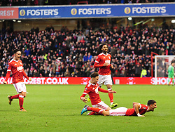 FORESTS ERIC LICHAJ CELEBRATES AFTER SCORING FOREST FIRST GOAL,  Nottingham Forest v Arsenal Emirates FA Cup Third Round, City Ground Sunday 7th January 2018