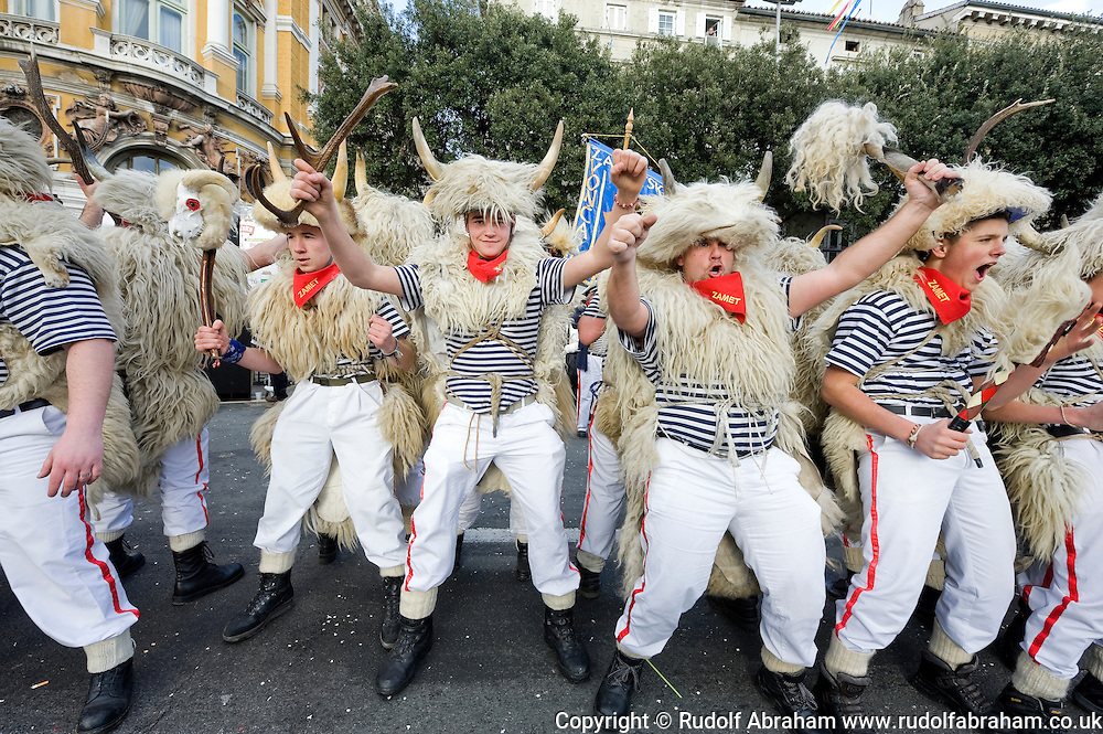 Zvoncari ('bell ringers') at Rijeka Carnival 2013, Rijeka, Croatia (10 February 2013)