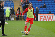 Wales midfielder Joe Allen warming up during the Friendly match between Wales and Belarus at the Cardiff City Stadium, Cardiff, Wales on 9 September 2019.