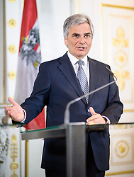 03.04.2013, Bundeskanzleramt, Wien, AUT, Bundesregierung, Pressefoyer nach Sitzung des Ministerrats, im Bild Bundeskanzler Werner Faymann SPÖ // Federal Chancellor Werner Faymann SPOE during press foyer after  council of ministers, Chancellors office, Vienna, Austria on 2013/04/03, EXPA Pictures © 2013, PhotoCredit: EXPA/ Michael Gruber