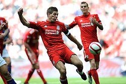 Steven Gerrard of Liverpool during the Budweiser FA Cup semi final match between Liverpool and Everton at Wembley on Saturday 14 April 2012 (Photo by Rob Munro)