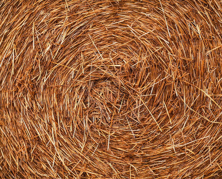 Detail of a large rolled straw bale in New Zealand
