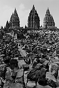 Prambanan, Java, Indonesia.  The world's largest Hindu temple.  At one time 114 of these monuments stood, as of 1993, most of them were still rubble.