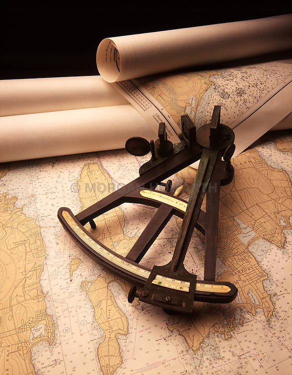 Antique Octant on map charts