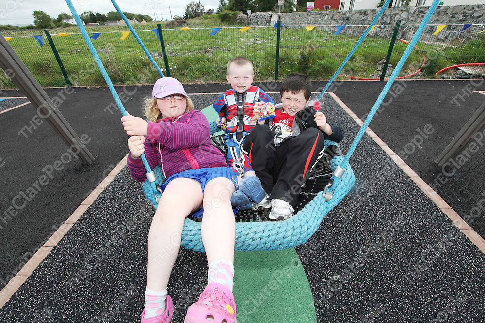 Naoise Slattery, Dean and Rhyan O Rourke Slattery pictured at the opening of the Playground in Quin on Saturday.<br /> Pic. Brian Arthur/ Press 22.