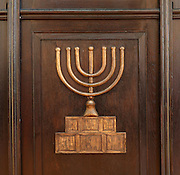 Detail of a menorah on a wooden panel, inside the Sephardic Old Synagogue, built 1587, which now houses a museum, Sarajevo, Bosnia and Herzegovina. Picture by Manuel Cohen