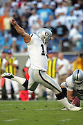 CHARLOTTE, NC - NOVEMBER 7:  A pass interference penalty set up this game winning 19 yard field goal (with 9 seconds left) by kicker Sebastian Janikowski #11 of the Oakland Raiders  to defeat the Carolina Panthers at Bank of America Stadium on November 7, 2004 in Charlotte, North Carolina. The Raiders defeated the Panthers 27-24. ©Paul Anthony Spinelli  *** Local Caption ***Sebastian Janikowski