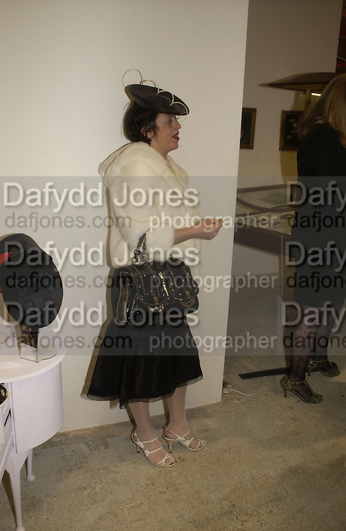 Isabella Blow. Stephen Jones exhibition to celebrate 25 years in business, private view & reception. Dover Street Market, 17-18 Dover Street, London, W1, 1 December  2005. ONE TIME USE ONLY - DO NOT ARCHIVE  © Copyright Photograph by Dafydd Jones 66 Stockwell Park Rd. London SW9 0DA Tel 020 7733 0108 www.dafjones.com