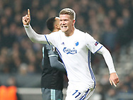 FOOTBALL: Andreas Cornelius (FC København) celebrates after scoring his teams second goal during the UEFA Europa League round of 16, first leg, match between FC København and AFC Ajax at Parken Stadium, Copenhagen, Denmark on Marts 9, 2017. Photo: Claus Birch