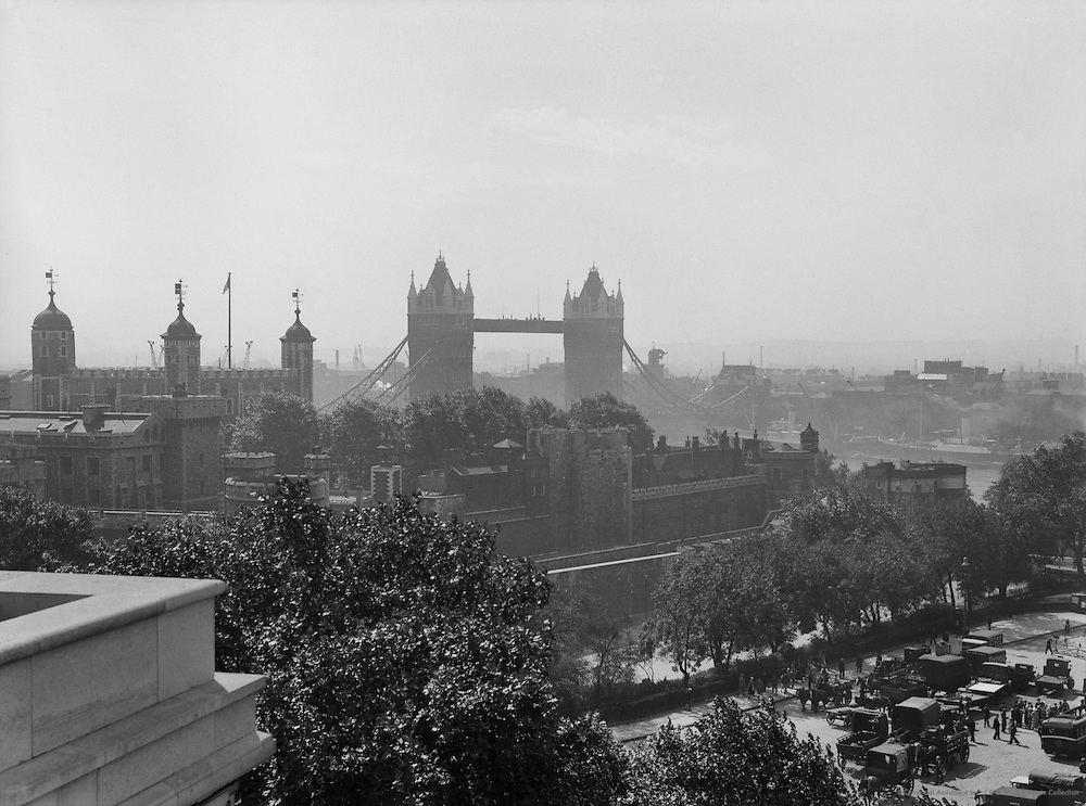 View of Tower of London and Tower Bridge from Roof of Port of London, 1934